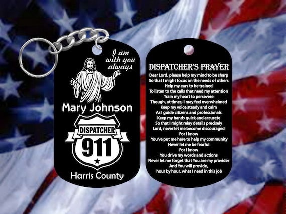 Black Hard Anodized Personalized Dog Tag Keychain 911 Dispatcher Gift
