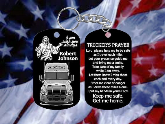 Personalized Trucker/'s Prayer DogTag Keychain Freightliner Driver Gift