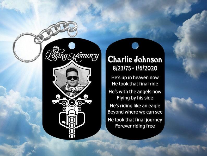 Biker Harley Davidson In Loving Memory Personalized Photo Dog Tag Keychain Super-Tough Metal