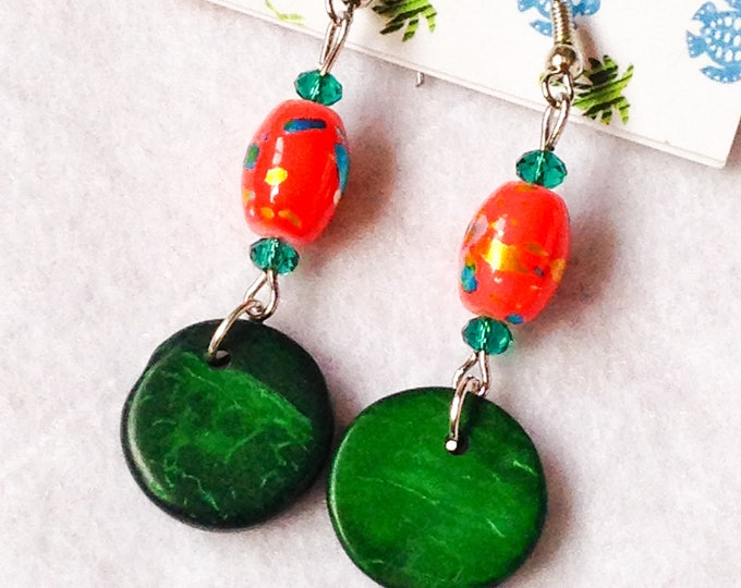 Featured listing image: Free shipping - green Orange and dangle Tagua earrings
