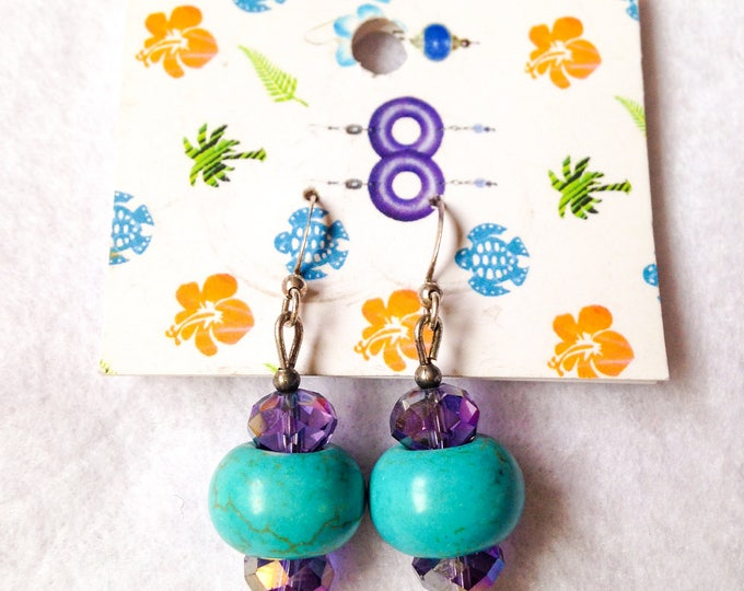 Featured listing image: Free shipping - teal blue earrings decorated with purple glass crystals