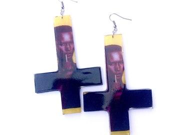 Grace jones earrings upside down cross earrings grace jones jewelry grace jones drag queen earrings drag earrings drag jewelry queen grace j