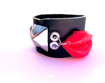 Leather Studded bracelet punk cuff leather bracelet with lip charm pyramid studded punk bracelet with lip shaped charm pubk studded bracelet