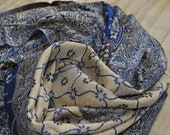 Paisley Stole, Indian Shawl w Personalized Gift Tag, Indian Scarf, Two Sided Shawl, Yoga Scarf, Blue and Beige Woven Stole, Ethnic Shawl