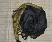 Indian Gold Paisley Shawl, Indian Scarf, Black Gold Stole,Black Shawl, Black Yoga Scarf, Woven Scarf, Boho Ethnic Gift, Personalized Gift