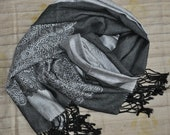 Silver Gray Indian Shawl, Head Scarf, Black Stole w Personalized Tag, Two Tone Shawl, Lace Woven Stole, Anniversary, Wedding Guest Shawl