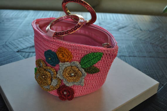 Crochet Handbag Pink Bag Round Handle Purse Gift for Girls  f89b8500c195f