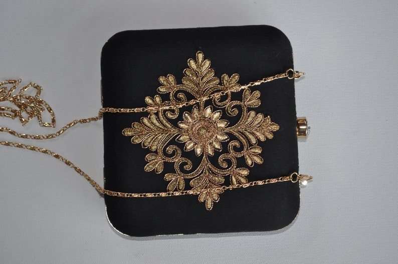 Set Of 3 Bridesmaid Gifts Black Clutch Embroidery Bag Indian Wedding Bag Bridal Party Handbag Maid Of Honor Gift Gold And Black Clutch