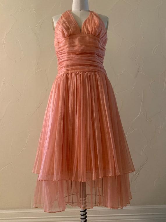 Vintage pleated halter dress