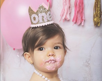 1st Birthday Outfit Girl || Pink Birthday Crown || First Birthday Girl Outfit || Girl Crown || Gold Birthday Hat || Girl Cake Smash ||