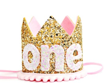 First Birthday Outfit Girl || Pink Birthday Party Crown || First Birthday Girl Outfit || Girl Crown || Gold Birthday Hat || Girl Cake Smash