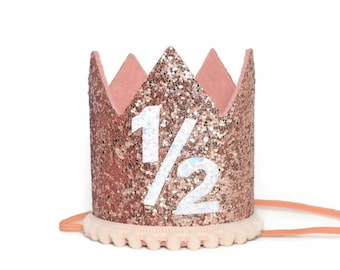 Rose Gold Half Birthday Party Hat 1 2 Outfit Photo Prop
