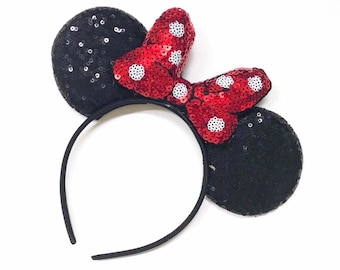 Mouse Ears With Red Polka Dot Bow || Adult Mouse Ears With Red Bow || Full Sequin Mouse Ears || Adult or Child Black Mouse Headband