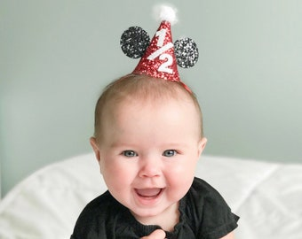 Minnie Mouse Half Birthday Hat Glitter Red Mickey Disney Party Cake Smash