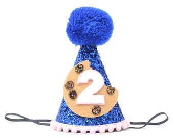 af28ef610743dc Cookie Birthday Party Hat, Cookie Monster, Large Blue Party Hat, 2nd  Birthday Party, Second Birthday Party, Chocolate Chip Cookie