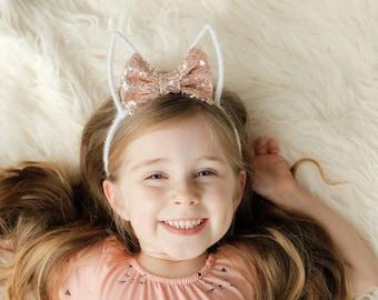 Rose Gold Bunny Ears    Rabbit Ears Headband    Easter Headband Toddler Girl Spring Accessory