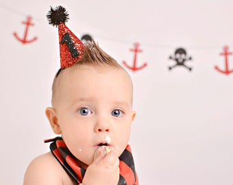 Pirate Party || Pirate Party Hat || Boy Birthday Hat || Party Cone Hat Cake Smash Photo Prop