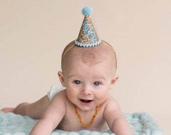 Half Birthday Party Hat || First Birthday Party Hat || 1/2 Birthday Cake Smash || Half Birthday Hat || Little Blue Olive