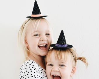 Witch Hat || Mini and Large Witch Hat || Halloween Hat || Glitter Witch Hat || Baby Witch || Witch Costume