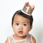 Rose Gold Birthday Crown,  First Birthday Outfit Girl, Rose Gold Birthday Party Hat, Rose Gold Photo Prop, Rose Gold 1st Birthday Hat
