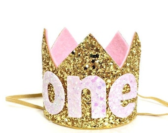 Gold Birthday Crown || Baby Girl Birthday Crown || First Birthday Crown || 1st Birthday Crown || Pink Birthday Crown