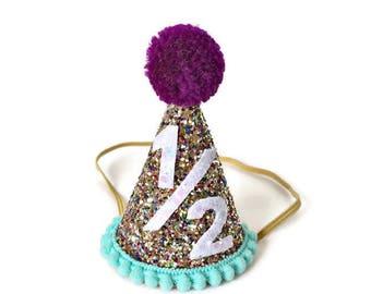 Half Birthday Party Hat || 1/2 Birthday Party Hat || Cake Smash || Smash Cake || Little Blue Olive