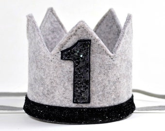 First Birthday Boy Crown || Boy Birthday Hat || Boy Cake Smash || Heather Grey + Black