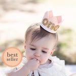 First Birthday Party Hat, Blush Birthday Crown, 1st Birthday Crown, 1st Birthday Crown, Cake Smash Photo Prop