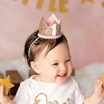 First Birthday Outfit Girl || Pink Birthday Party Crown || First Birthday Girl Outfit || 1st Birthday Party Hat Crown