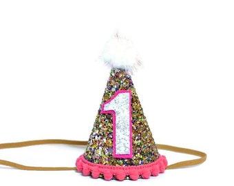 1st Birthday Party Hat First Glitter
