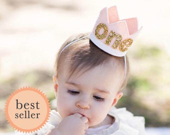 Blush Felt Birthday Crown || First Birthday Crown  || 1st Birthday Crown || Cake Smash Photo Prop || 1st Birthday Party Hat