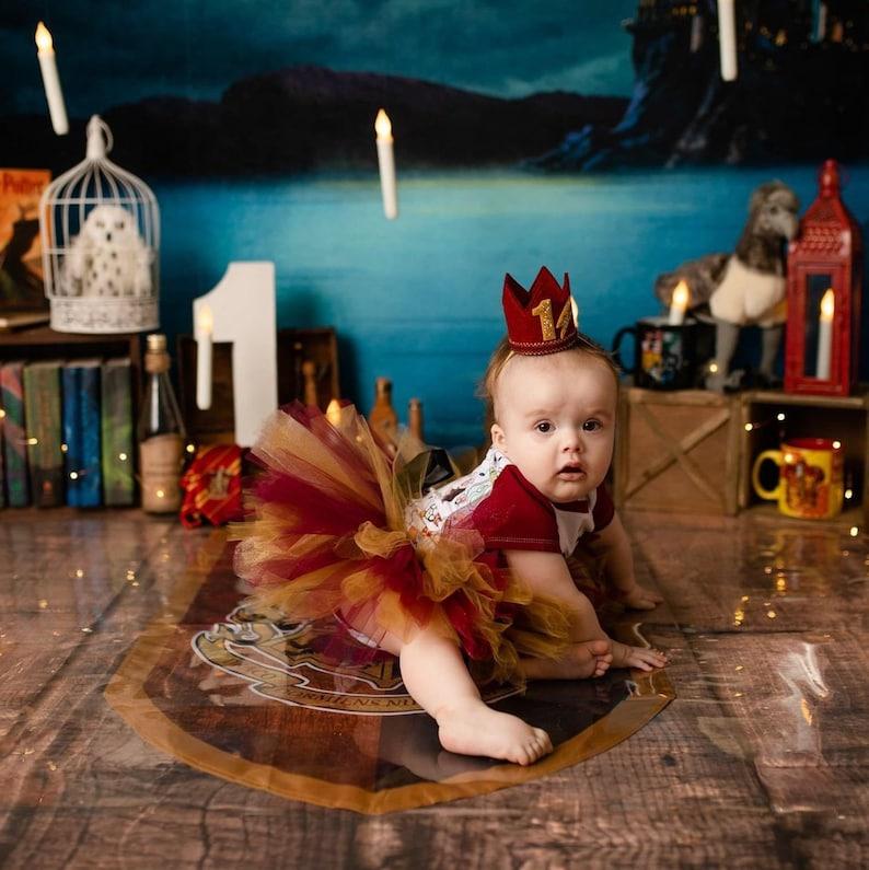 First Birthday Boy 1st Birthday Boy Crown Harry Potter Inspired Maroon and Gold Crown Birthday Crown Wizard Birthday Crown