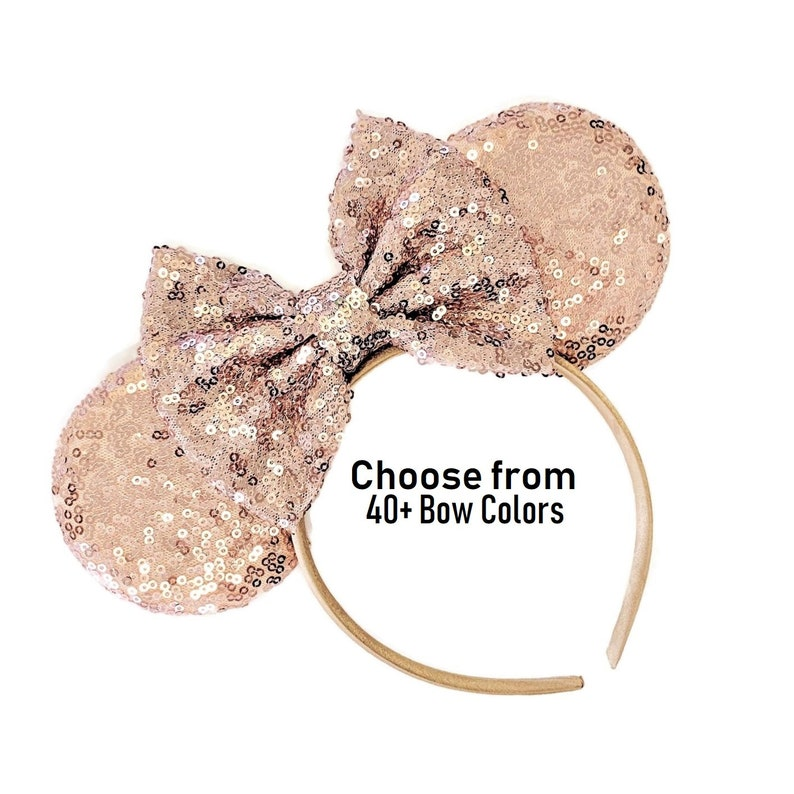Rose Gold Mouse Ears With 5 Inch Bow  Rose Gold Minnie Ears image 0