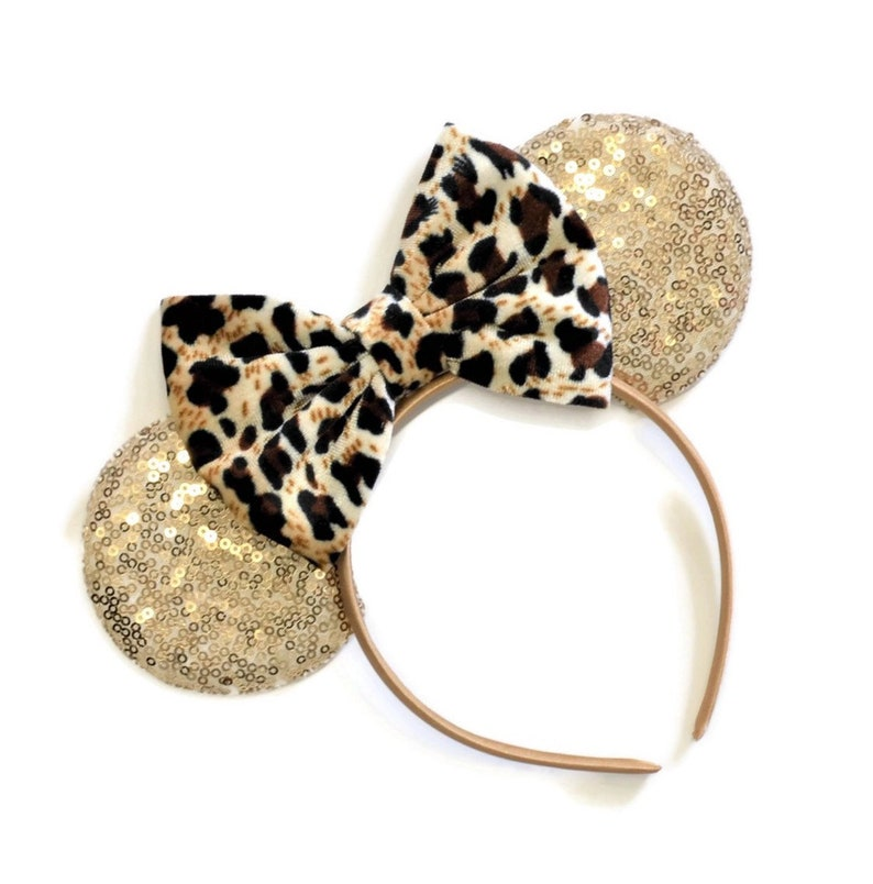 Cheetah Bow Minnie Mouse Ears With Cheetah Bow Minnie Ears image 0