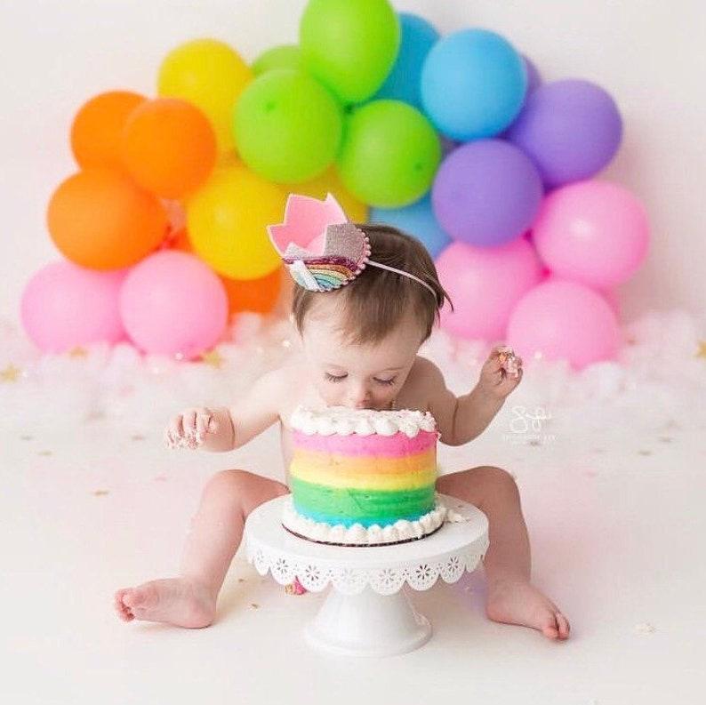 1st Birthday Rainbow Crown  Pastel Rainbow Birthday Party  image 0