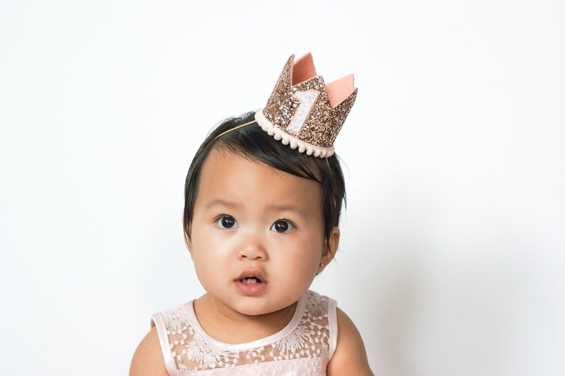 Rose Gold Birthday Crown  First Birthday Outfit Girl Rose image 0
