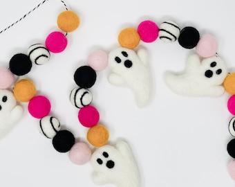 Ghost Garland, Ghost Felt Wool Garland, Halloween Garland