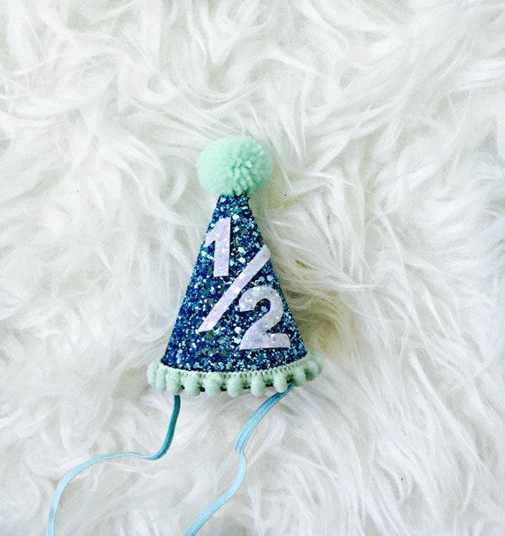 Half Birthday Party Hat First Glitter