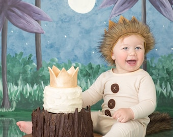 Wild One Crown || Where the Wild Things Are Outfit Cake Smash || Wild One Party Supplies || King of the Jungle Birthday || Safari Party