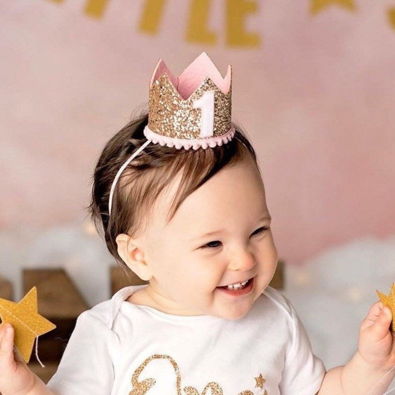 First Birthday Outfit Girl  Pink Birthday Party Crown  image 0