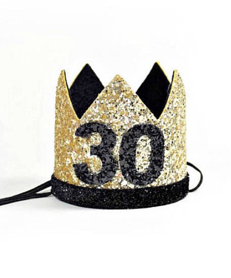 30th Gold Black Birthday Crown Adult Hat