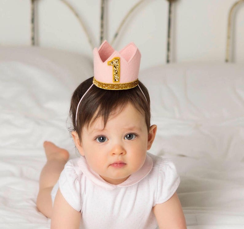 First Birthday Girl Crown  Baby Girl Birthday Hat  Pink image 0