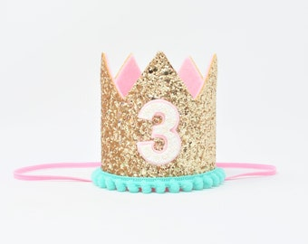 3rd Birthday Party Hat || 3rd Birthday Girl Crown || Third Birthday Party || Birthday Party Crown || Pink and Gold Crown, Add any number