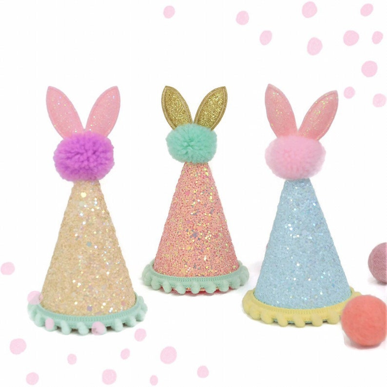 Spring Birthday 1st Party Hat Glitter Bunny