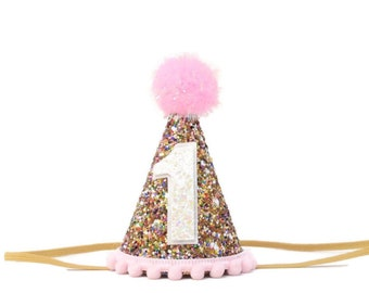 1st Birthday Hat, First Birthday Girl Party Hat, First Glitter Party Hat, First Birthday Outfit Girl, 1st Birthday Cake Smash Outfit