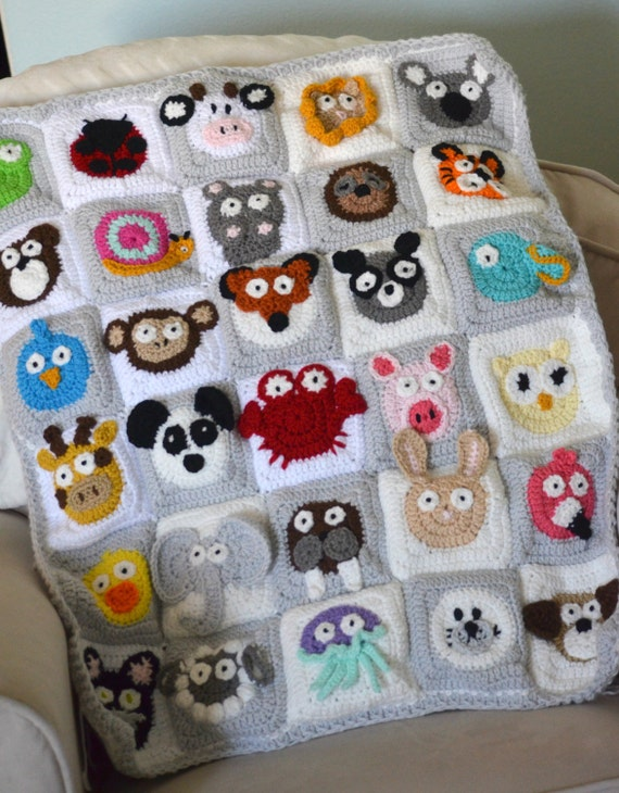 Crocheted Animal Blanket Etsy