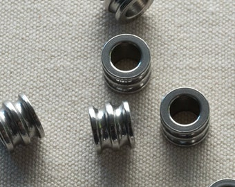 Chunky ribbed pipe column bead, stainless steel, industrial chic, 5, 10 or 25 pieces