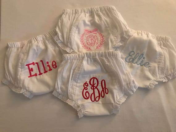Set of 4 Monogrammed Bloomers- Size 1 ,2 or 3