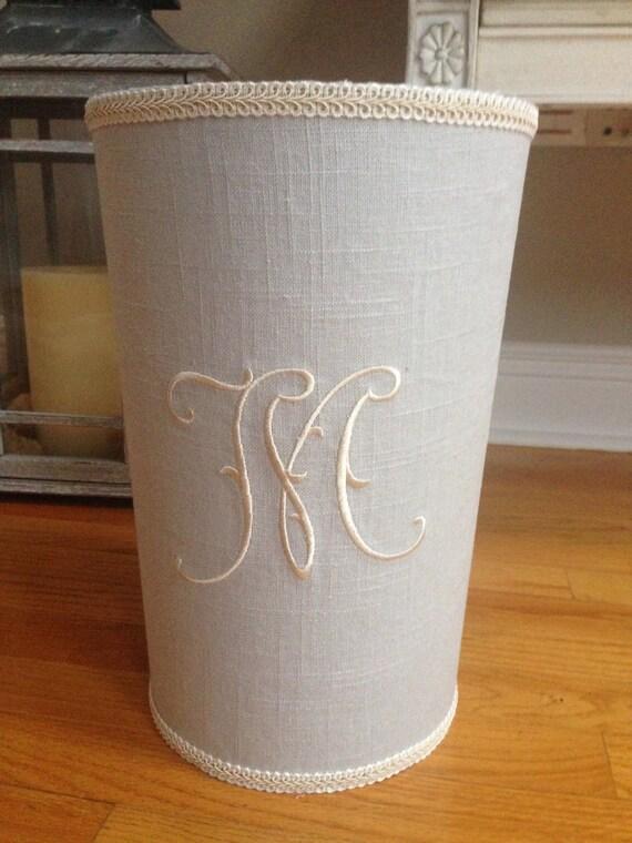 Monogrammed Linen Wastebasket