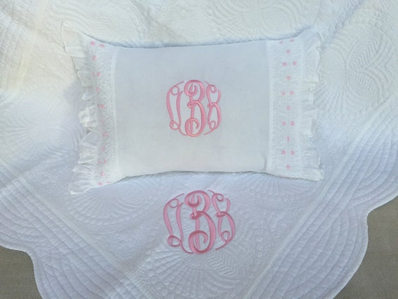 Monogrammed Baby  Quilt and Pillow